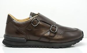 New-in-Box-Tod-039-s-Men-039-s-Brown-Leather-2-Buckle-Sports-Shoe-GON540