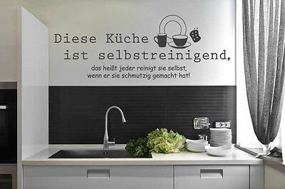 Wandtattoo Küche Wandsticker Diese Küche ist selbstreinigend Küchentattoo