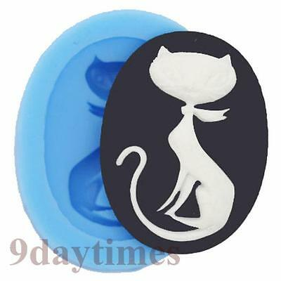 Lovely Cat Cabochon Silicone Mold Mould For Polymer Clay Crafts 40x30mm A306