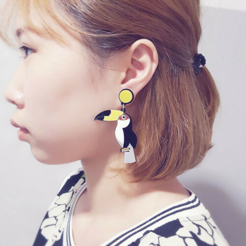Exaggerated Gothic Parrot Bird Toucan Earrings Punk Women Ear Stud Gothic New