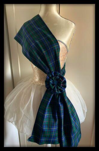 Hunting Stewart Tartan Sash Rosette Scarf Burns Night Scottish Dress Green Kilt