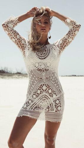 New Women Summer Beach Dress Lace Crochet Bikini Cover Up Swimwear Bathing Suit