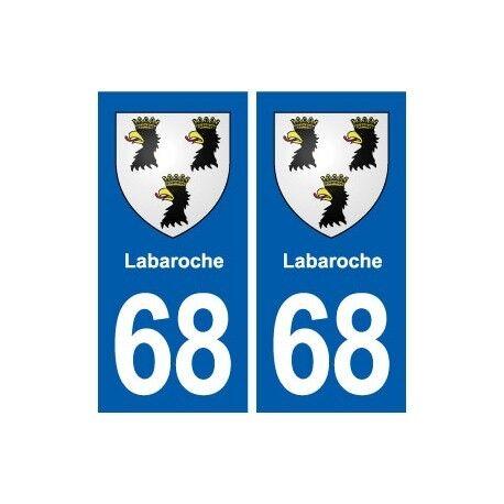 68 Labaroche blason autocollant plaque stickers ville -  Angles : droits