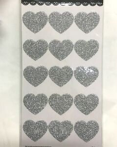 30xSilver-Glitter-Heart-Seals-Labels-Stickers-Wedding-Invitations-Bomboniere-Tag