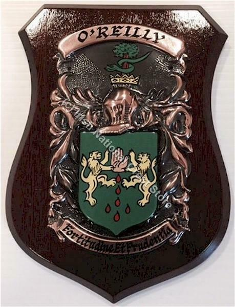 NEWPORT to O'CALLAGHAN Family Name Crest on HANDPAINTED PLAQUE - Coat of Arms