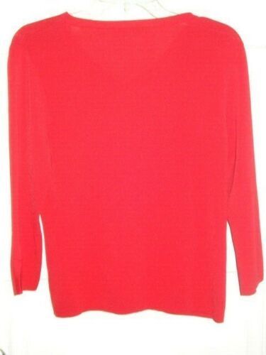Tynd Pendleton Rød Sleeves Sweater Strik Størrelse 3 M 4 Solid Rayon Top Kvinders xwOqZO4Y