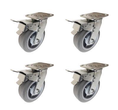 "6/"" x 2/"" Heavy Duty Non-Marking Rubber Tread Plastic Caster with Total Lock Brake"