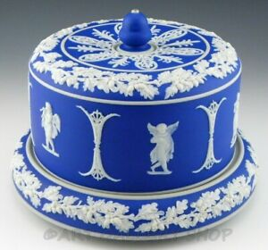 Antique-Wedgwood-England-JASPERWARE-DARK-COBALT-LARGE-COVERED-CHEESE-DISH-DOME