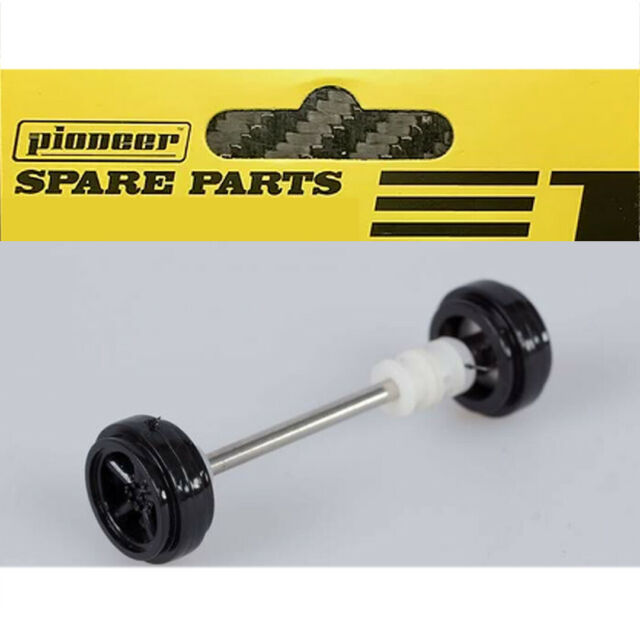 Pioneer Front Axle Assembly w// Black Grand-Am Steel-Style Wheels 1//32 Slot Car