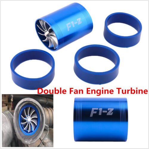 Double Fan Car Air Intake Turbonator Engine Turbine Super Charger Gas Fuel Saver