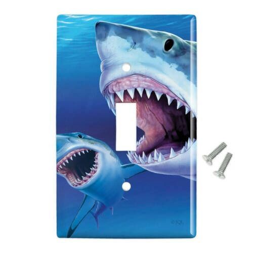 Great White Sharks Ocean Pair Scuba Diving Wall Light Switch Plate Cover