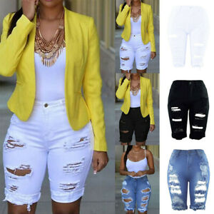 NEW-Womens-Elastic-Destroyed-Hole-Leggings-Short-Pants-Denim-Shorts-Ripped-Jeans
