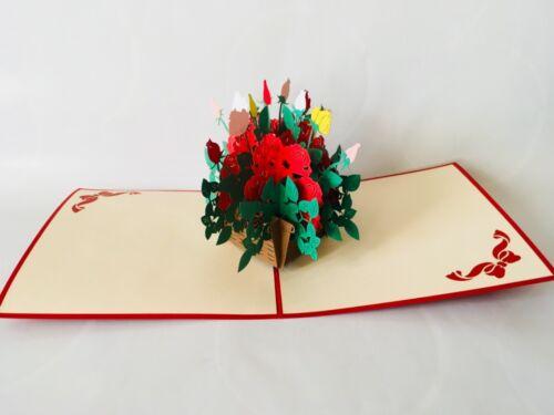 Grußkarte 3D-Klappkarten Pop-up Karten Rosenstrauß Glückwunschkarte