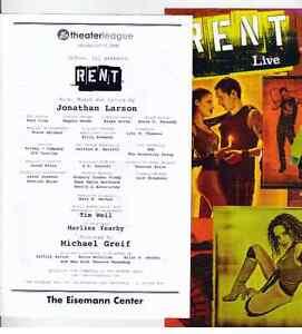 RENT Playbillprogram Flyer The Eisemann Center Richardson Texas - Playbill program