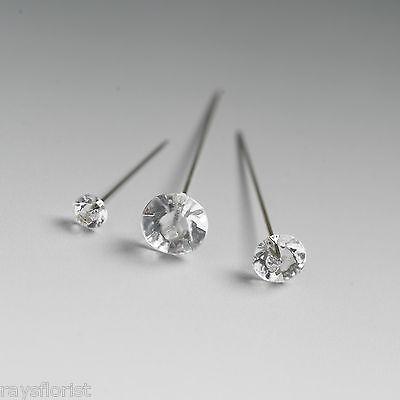 """2/"""" Buttonholes Bouquet 5cm Florist Wor 100 Diamante Diamonte pins Wedding"""