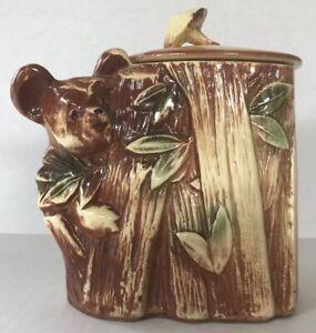 McCoy-Pottery-Vintage-Cookie-Jar-Koala-Bear-Bamboo-Tree-1950-s