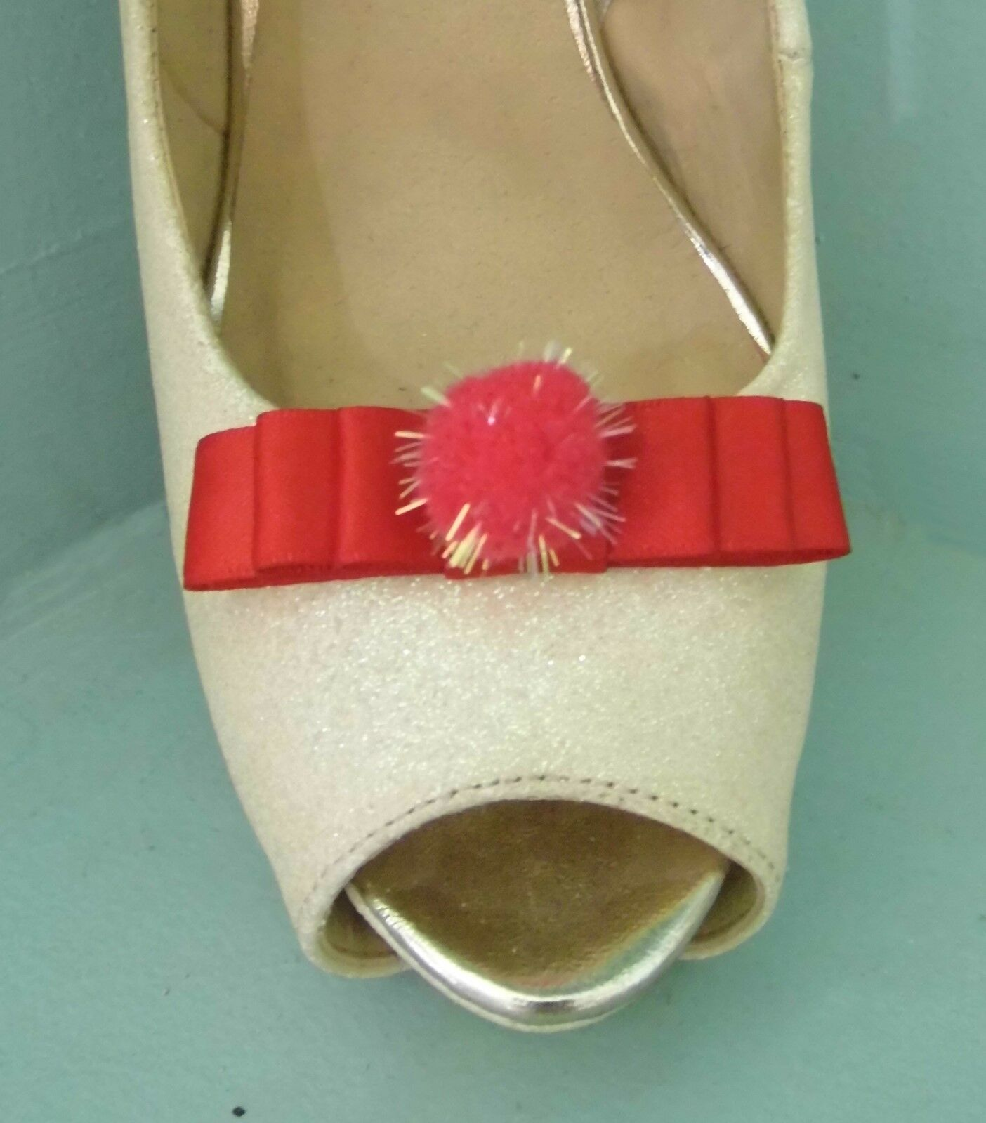 2 Small Red Bow Clips for Shoes with Glittery Pompom Centre