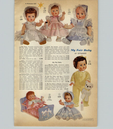 1959 PAPER AD 4 PG Effanbee My Fair Baby Doll Tiny Tears Romper Room Go Go Yummy