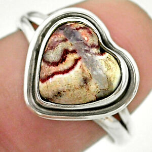 5.06cts Solitaire Natural Mexican Laguna Lace Agate Silver Ring Size 8 T41670