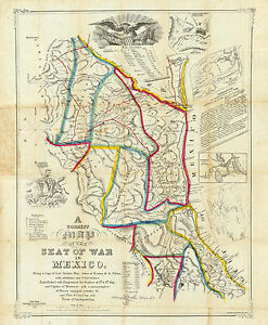 1847 Map Seat Of War In Mexico Wall Art Poster Print Decor Vintage History