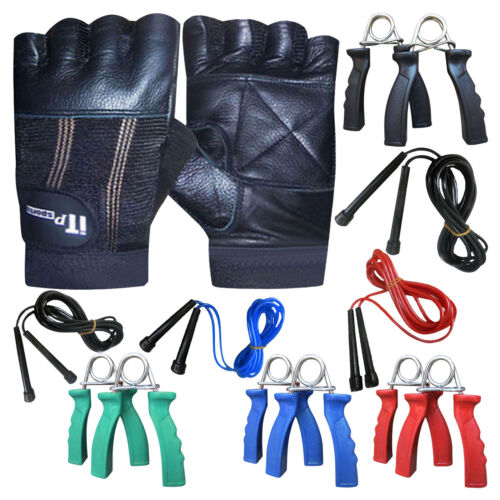 Leather Weight Lifting Gloves /& Skipping Rope /& Hand Gripper Set Gym Fitness