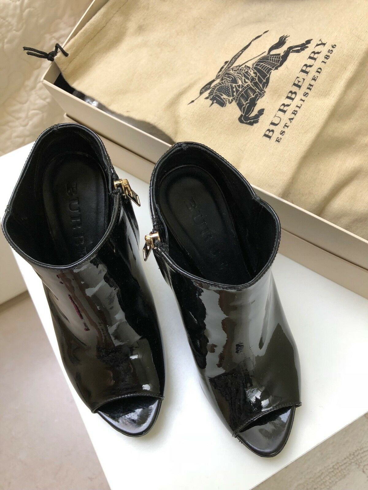 BURBERRY ANKLE  BOOT PEEP TOE BLACK SHOES SIZE 36