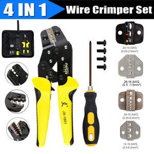 Wire-Crimpers-Tool-Kit-Engineering-Ratchet-Terminal-Crimping-Pliers-Set-w-3-Dies