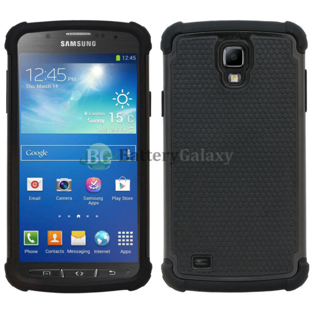 more photos 6d82d a11c3 Hybrid Rugged Rubber Hard Case Cover for Samsung Galaxy S4 Active Black 600