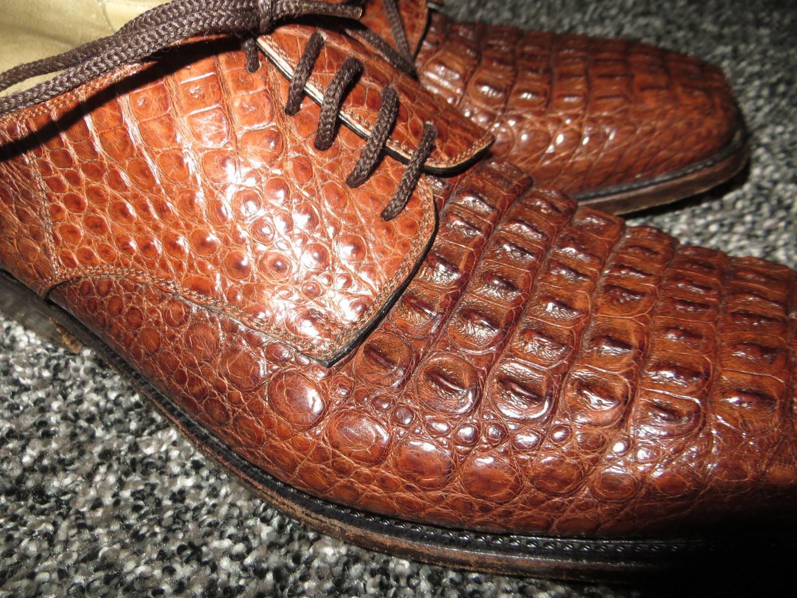 RARE RARE RARE Yacare Caiman Uomo Bespoke Brown Oxford Alligator Crocodile Dress Shoe 10 M 1e7c04