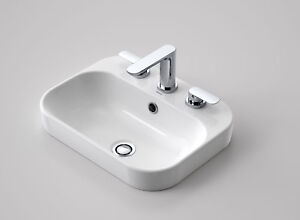 Caroma Luna Contemporary Vanity Inset Basin 3 Tap Holes with Overflow 899235W