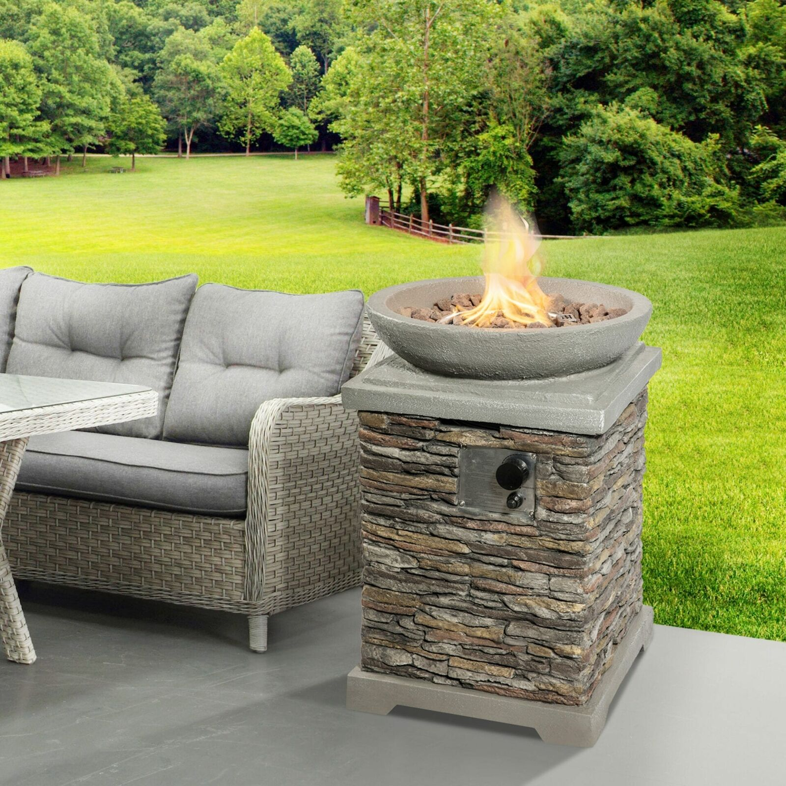 Peaktop Firepit Outdoor Gas Fire Pit Stone With Lava Rock & Cover HF29308AA-UK