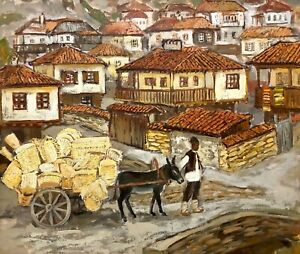 painting-Marchenko-vintage-donkey-mountains-Bulgaria-old-decor-landscape-man-art