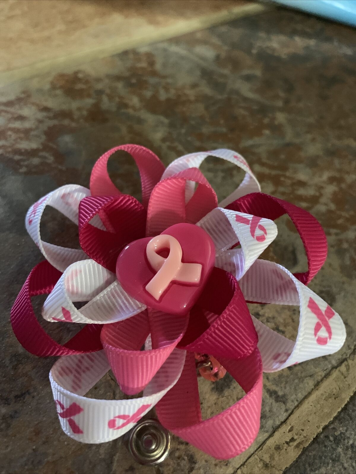 Deluxe Fancy PINK Breast Cancer Awareness Ribbon ID Badge Reel Retractable RN