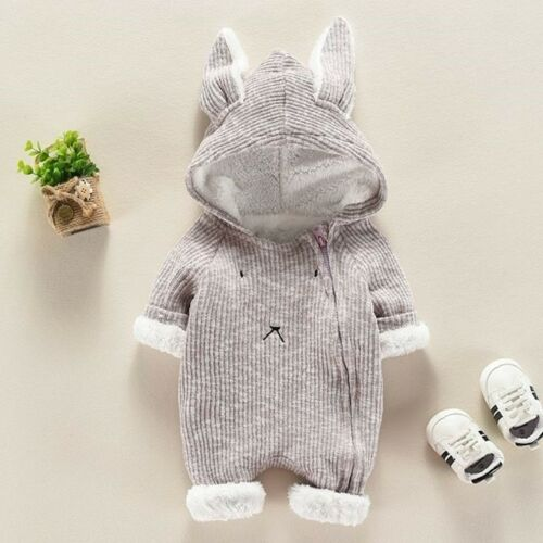 UK Newborn Baby Boys Girls Rabbit Ears Hooded Romper Jumpsuit Outfits Set ghrer