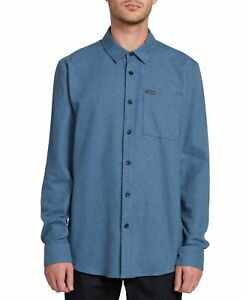 Volcom Mens Shirt Blue Size 2XL Button Front Chest-Pocket Long-Sleeve $60 013