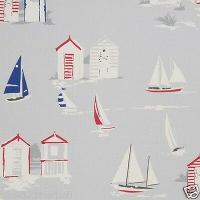 CLARKE and CLARKE FABRIC REMNANT 100% COTTON 2.25 MTRS BEACH HUTS Grey
