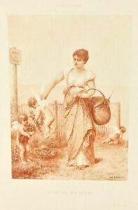 Gravure-ancienne-a-l-eau-forte-XIXe-E-JEAN-AUBERT-LE-MARCHE-salon-1888