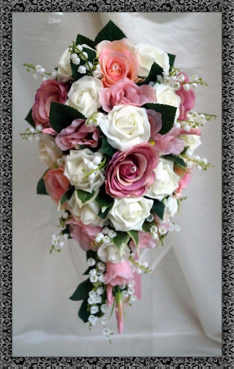 Mariage fleurs, mariées larme bouque, rose poudré & ivoire lily of the valley