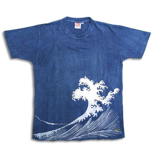 Natural and Hand dyes Mitsuru unisexed T-shirt made in Japan Shiranami navy-bluee