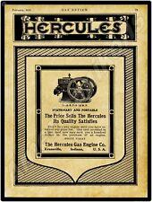 Indiana 1915 Hercules Gas Engines New Metal Sign Evansville