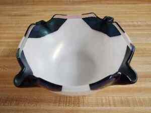 Vintage art glass bowl; white/black/iridescent; signed.