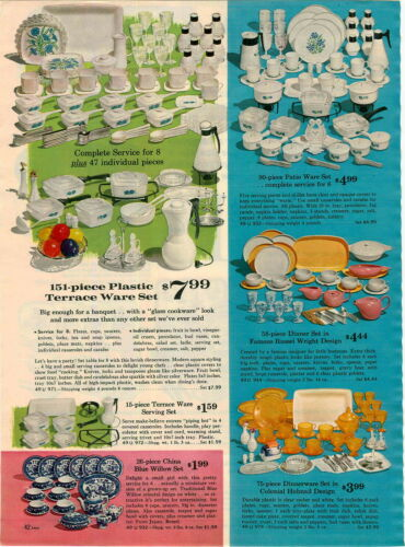 1964 PAPER AD 3 PG Play Toy Tea Sets Cups Saucers Dinnerware Blue Sussex Barbie