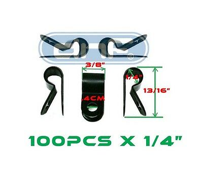 """100 Pack 1/4"""" Black Nylon Cable Clamp Uv Weather Resistant - Ships Free Today!"""