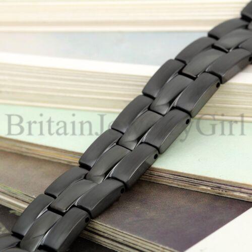 """8.5/"""" homme noir en acier inoxydable magnétique Motard lien chaîne 12 mm largeur Bracelet"""
