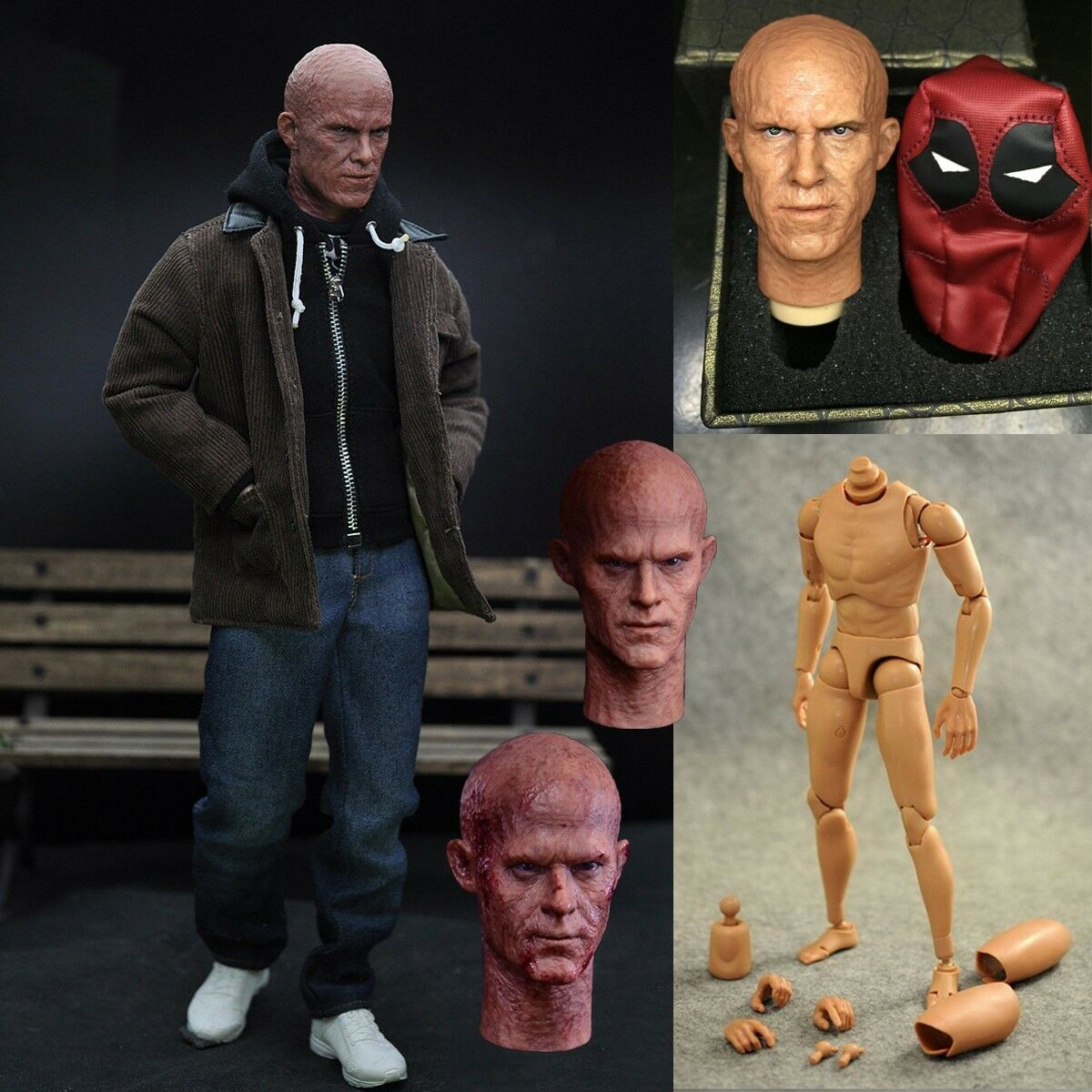1 6 Scale Deadpool Casual Clothes Set+Figure Body+Head Sculpt For 12  Hot Toys