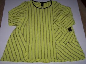 598dcd0fc34d4 NWT Ali Miles Citron LIME GREEN Black Stripes Pucker GAUZY Tunic Top ...