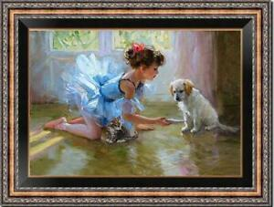 "Hand-painted Original Oil painting art Impressionism girl dog on Canvas 24""X36"""