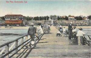 The-Pier-Oceanside-CA-San-Diego-County-ca-1910s-Vintage-Hand-Colored-Postcard