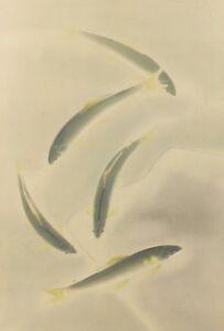 Copieux Japonais Peinture Ayu Rivière Suspension Défiler Image Ancien D'encre