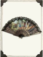 Victorian Trading Co Black Hand Fan The Language Of Fans Pastorale Free Ship on sale